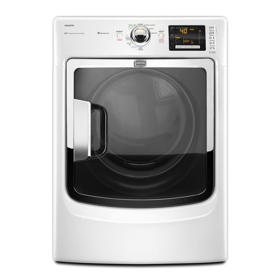 Maytag 7.4-cu ft Stackable Gas Dryer (White)