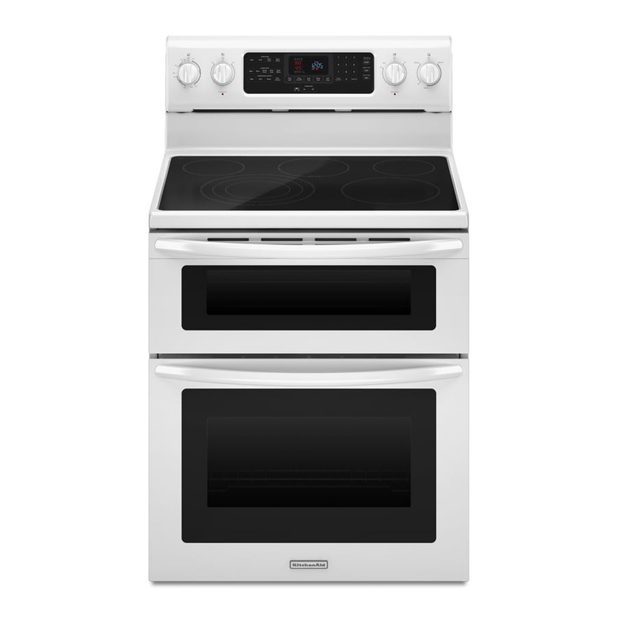 KitchenAid Architect Ii 30-in Smooth Surface 5-Element 4.2-cu ft / 2.5-cu ft Self-Cleaning Double Oven Single-Fan European Element Electric Range (White)