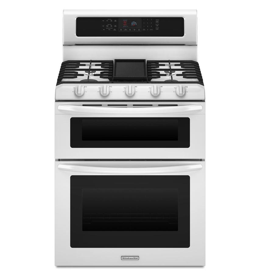 KitchenAid Architect II 30-in 5-Burner 3.9-cu ft/2.1-cu ft Self-Cleaning Double Oven Convection Gas Range (White)