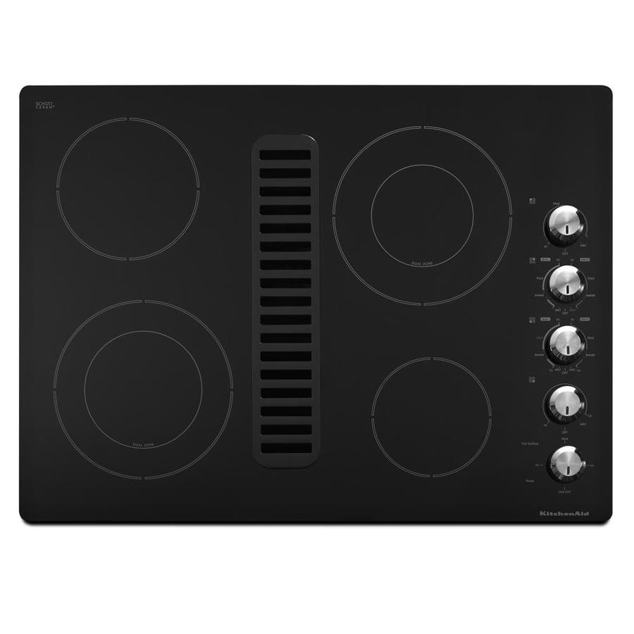KitchenAid Smooth Surface Electric Cooktop with Downdraft Exhaust (Black) (Common: 30-in; Actual 30.0625-in)