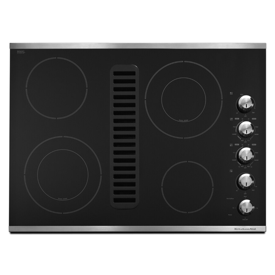 KitchenAid Smooth Surface Electric Cooktop with Downdraft Exhaust (Stainless Steel) (Common: 30-in; Actual 30.0625-in)