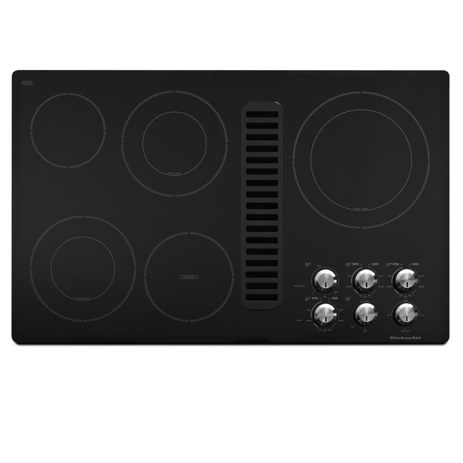 KitchenAid 5-Element Smooth Surface Electric Cooktop with Downdraft Exhaust (Black) (Common: 36-in; Actual 35.5-in)