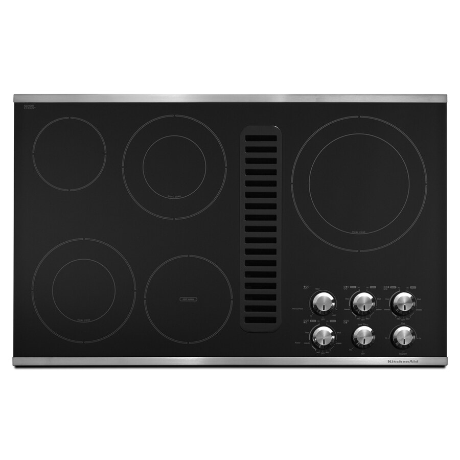 KitchenAid 5-Element Smooth Surface Electric Cooktop with Downdraft Exhaust (Stainless Steel) (Common: 36-in; Actual 35.5-in)