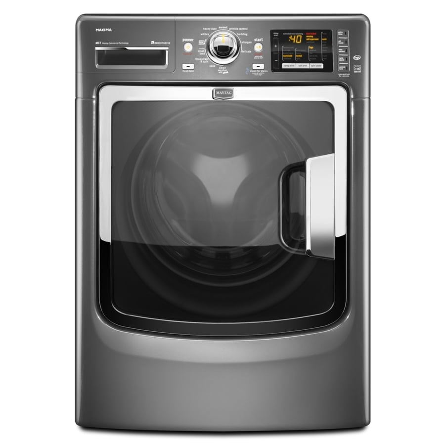 Maytag Maxima 4.3-cu ft High-Efficiency Stackable Front-Load Washer with Steam Cycle (Cosmetallic)