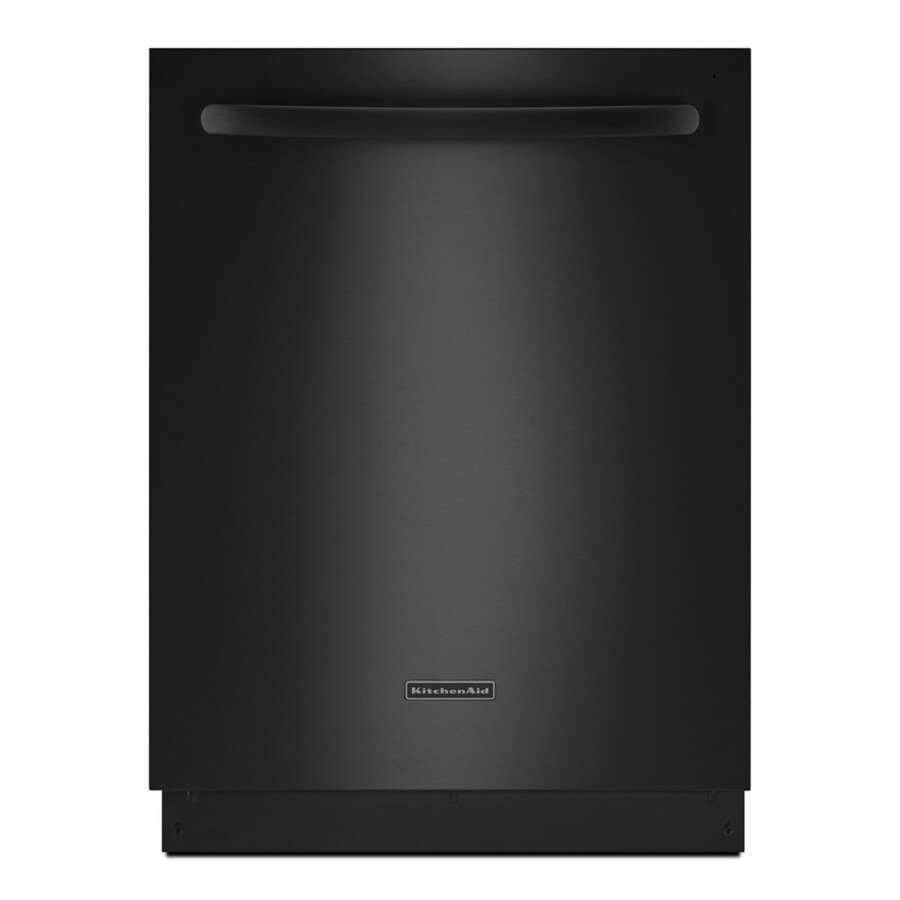 KitchenAid 24-in 49 Decibels Built-in Dishwasher with Hard Food Disposer and Stainless Steel Tub (Black) ENERGY STAR