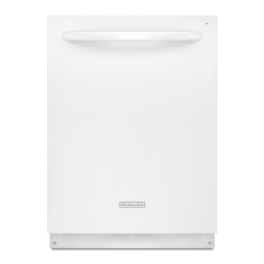 KitchenAid 24-in 49 Decibels Built-in Dishwasher with Hard Food Disposer and Stainless Steel Tub (White) ENERGY STAR