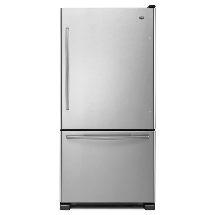 Maytag 18.5-cu ft Bottom-Freezer Refrigerator with Single Ice Maker (Stainless Steel) ENERGY STAR