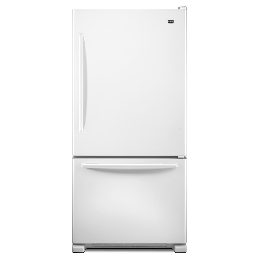Maytag 21.9-cu ft Bottom-Freezer Refrigerator with Single Ice Maker (White) ENERGY STAR