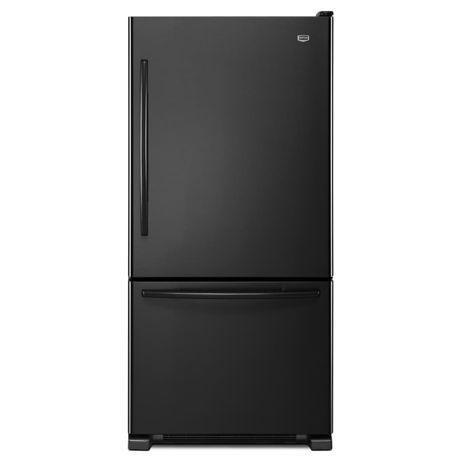 Maytag 21.9-cu ft Bottom-Freezer Refrigerator with Single Ice Maker (Black) ENERGY STAR