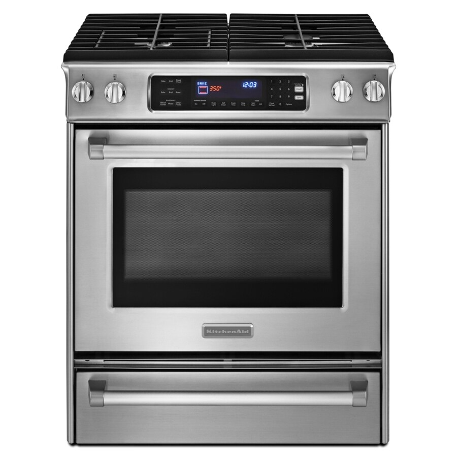 KitchenAid 4.1-cu ft Self-Cleaning Slide-In Convection Gas Range (Stainless Steel) (Common: 30-in; Actual 30-in)