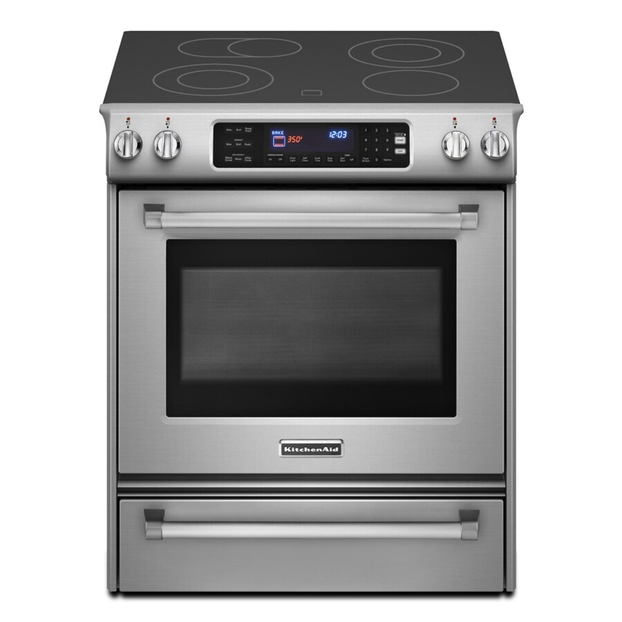 KitchenAid Pro Line 30-in Smooth Surface 4.1-cu ft Self-Cleaning Slide-In Convection Electric Range (Stainless Steel)