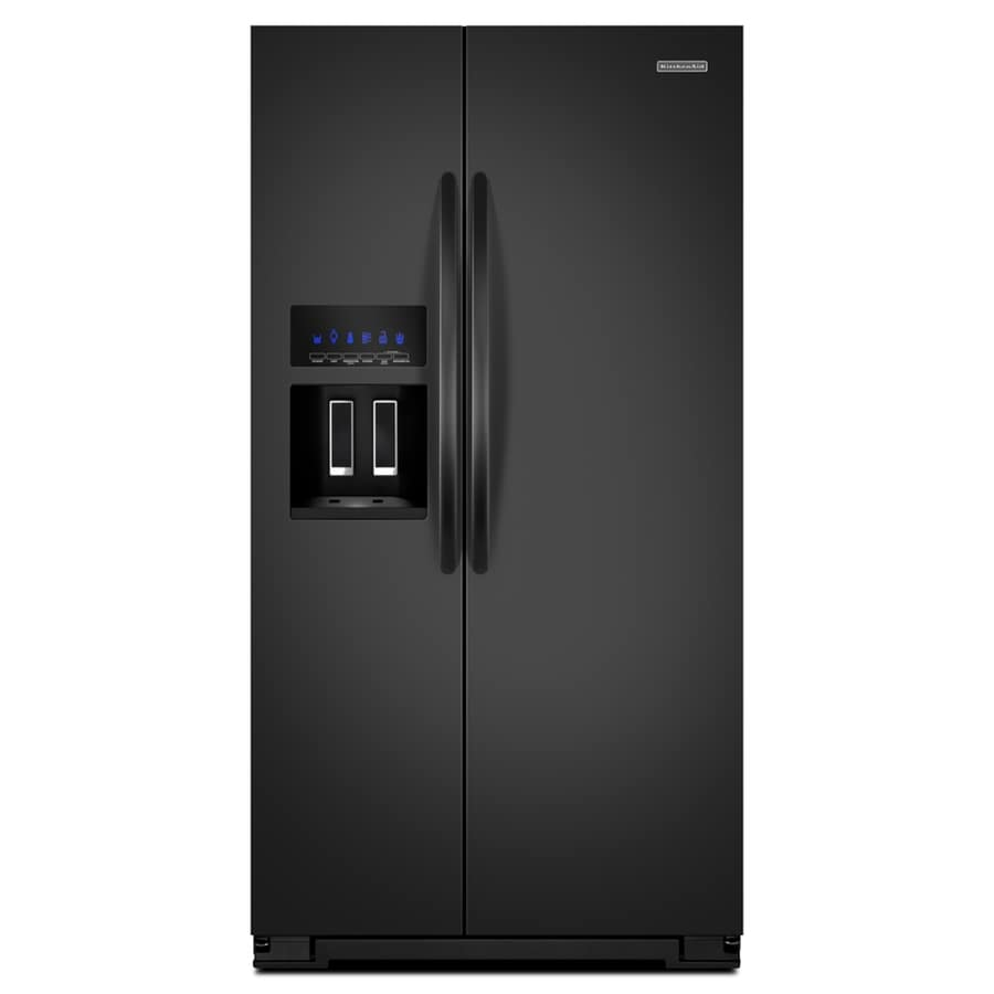 KitchenAid Architect II 25.6-cu ft Side-By-Side Refrigerator with Single Ice Maker (Black)