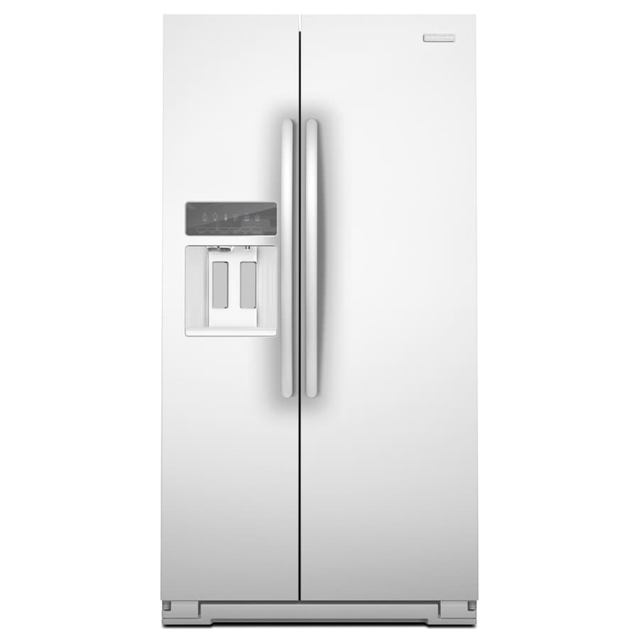 KitchenAid Architect II 25.6-cu ft Side-By-Side Refrigerator with Single Ice Maker (White)