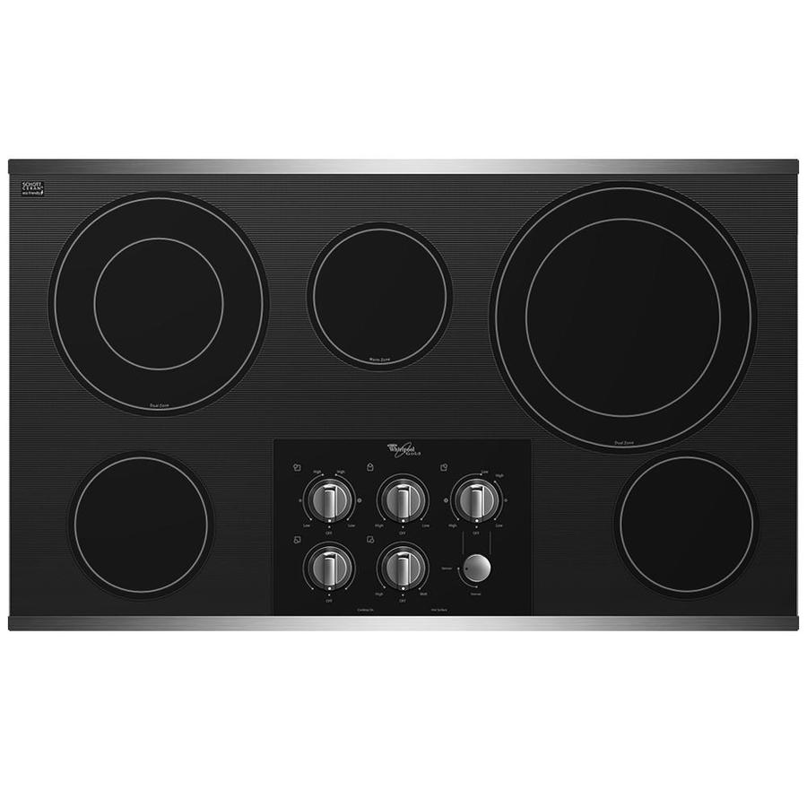 Whirlpool Gold 5-Element Smooth Surface Electric Cooktop (Stainless Steel) (Common: 36-in; Actual 36.3125-in)