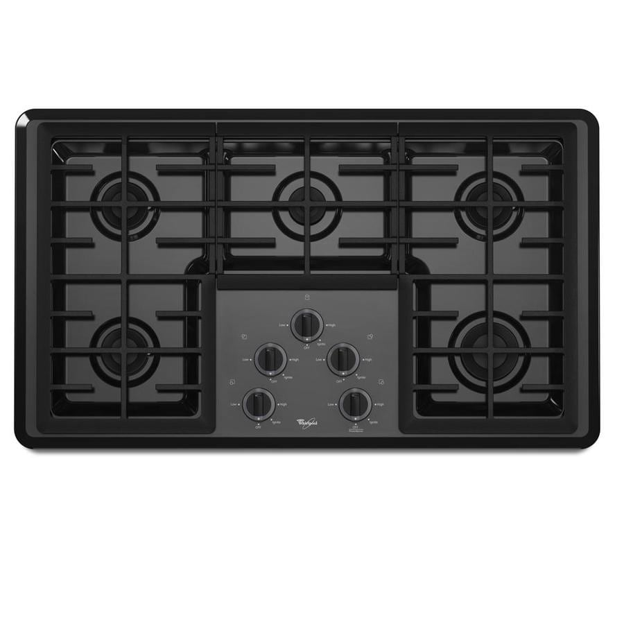 Whirlpool 5-Burner Gas Cooktop (Black) (Common: 36-in; Actual 37.625-in)