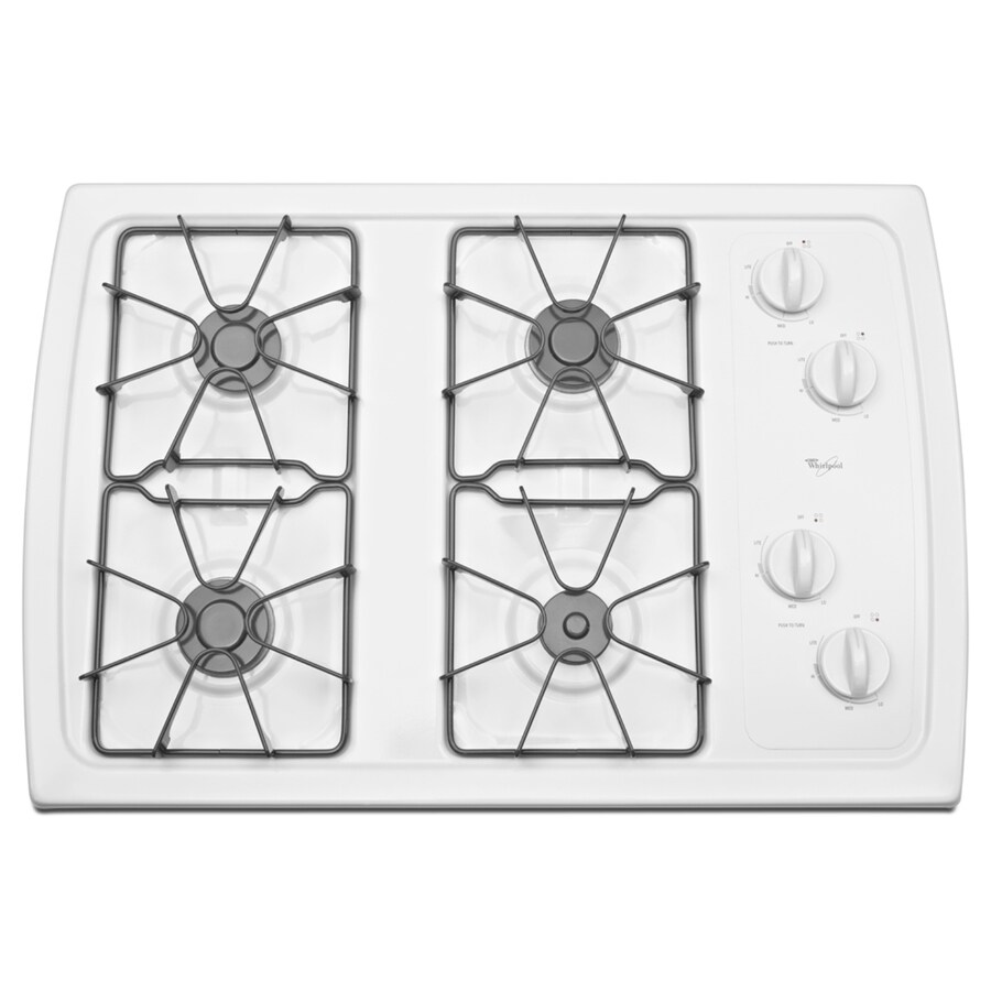 Whirlpool 4-Burner Gas Cooktop (White) (Common: 30-in; Actual: 31.438-in)