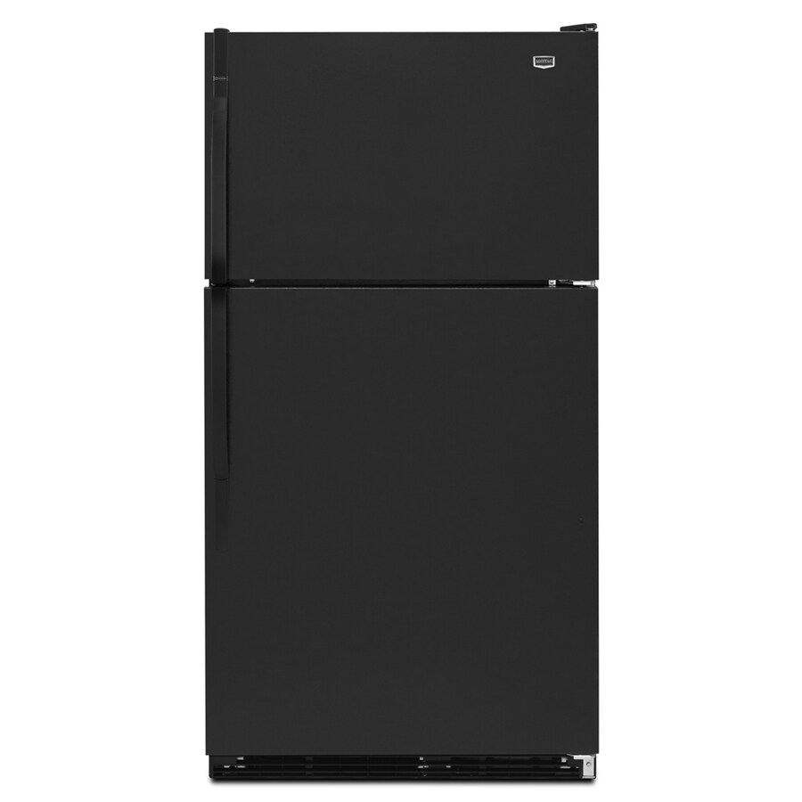 Maytag 20.6-cu ft Top-Freezer Refrigerator with Single Ice Maker (Black) ENERGY STAR