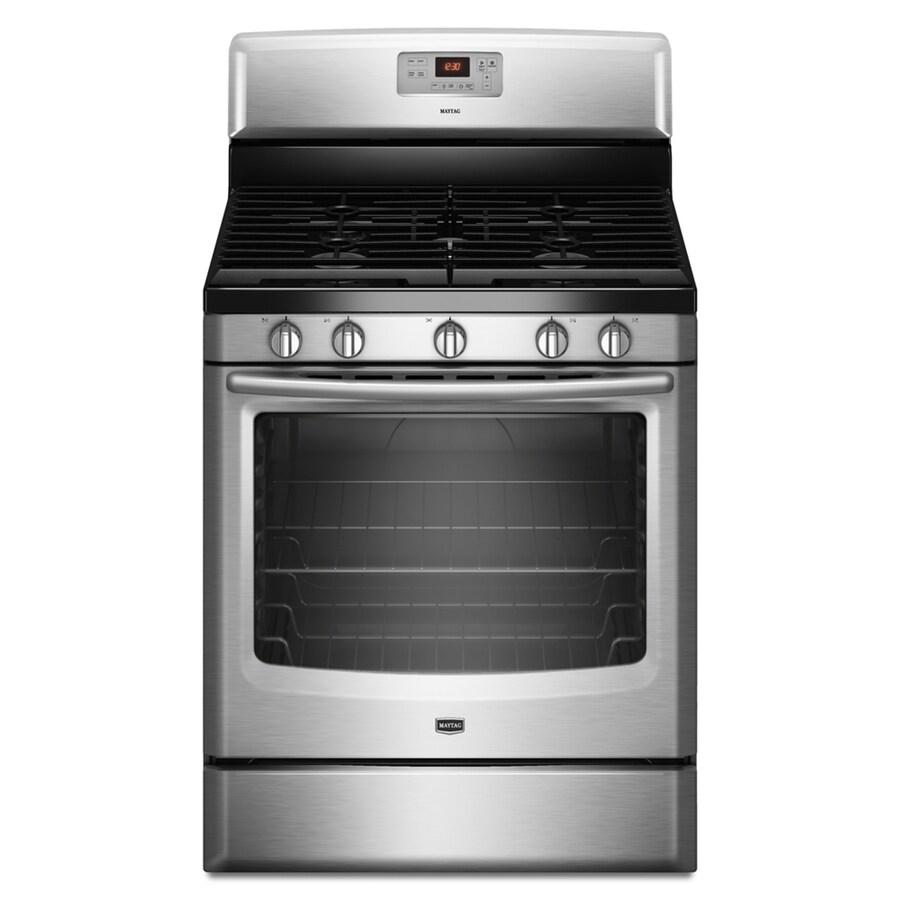Maytag 5-Burner Freestanding 5.8-cu Self-Cleaning Gas Range (Stainless Steel) (Common: 30-in; Actual: 29.87-in)