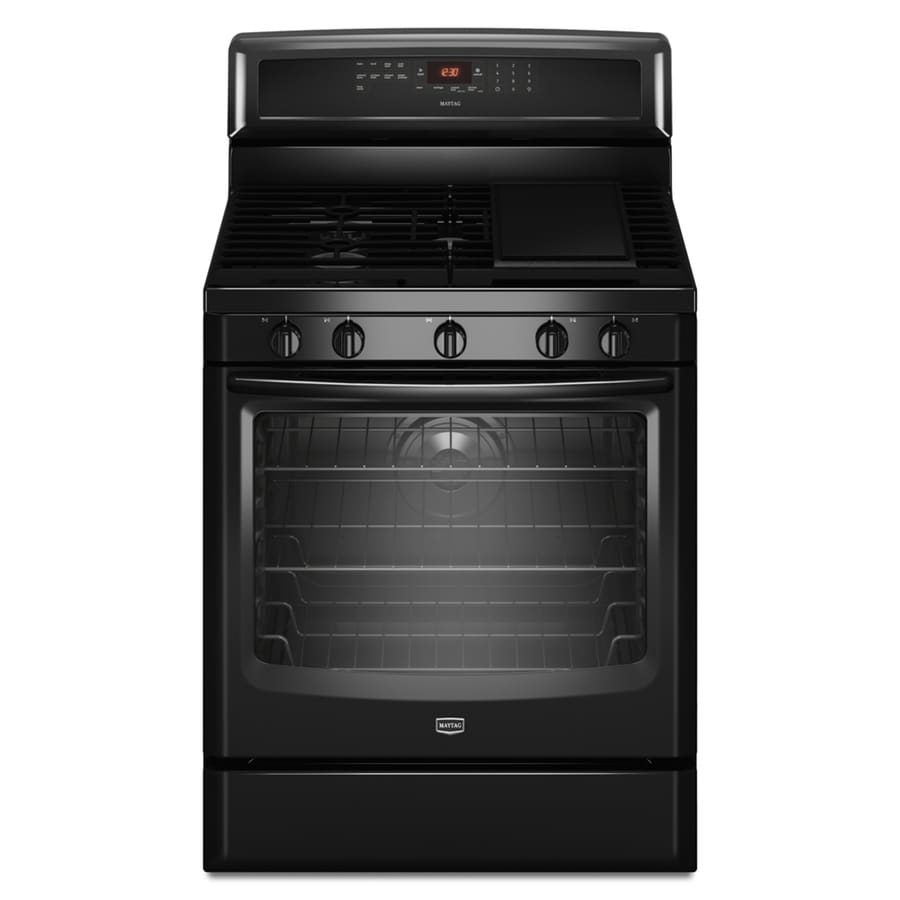 Maytag 30-in 5-Burner Freestanding 5.8 cu ft Convection Gas Range (Black)