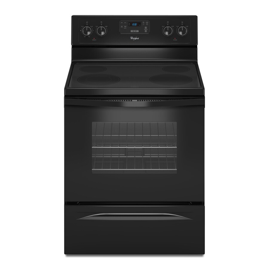 Whirlpool Smooth Surface Freestanding 4.8-cu ft Self-Cleaning Electric Range (Black) (Common: 30-in; Actual: 29.87-in)