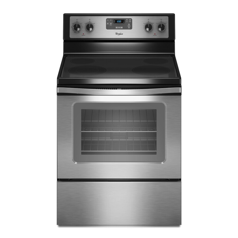 Whirlpool Smooth Surface Freestanding 4.8-cu ft Self-Cleaning Electric Range (Stainless Steel) (Common: 30-in; Actual: 29.87-in)