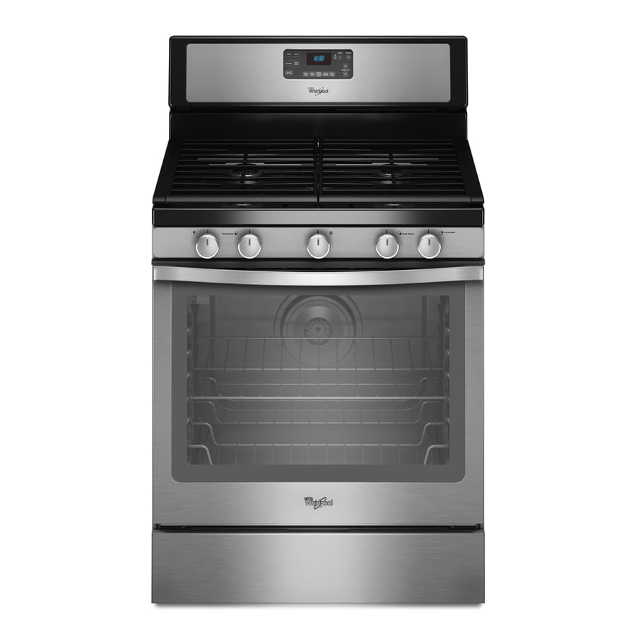 Whirlpool 5-Burner Freestanding 5.8-cu Self-Cleaning Convection Gas Range (Stainless Steel) (Common: 30-in; Actual: 29.87-in)