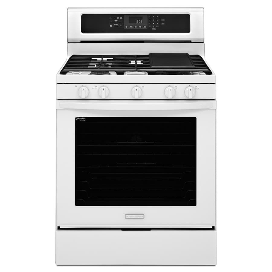 KitchenAid Architect Ii 5-Burner Freestanding 5.8-cu Self-Cleaning Convection Gas Range (White) (Common: 30-in; Actual: 29.93-in)