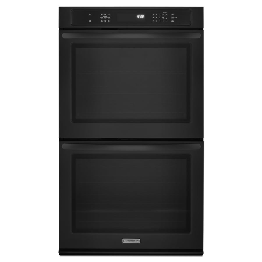 KitchenAid Convection Single-Fan Double Electric Wall Oven (Black) (Common: 30-in; Actual: 30-in)