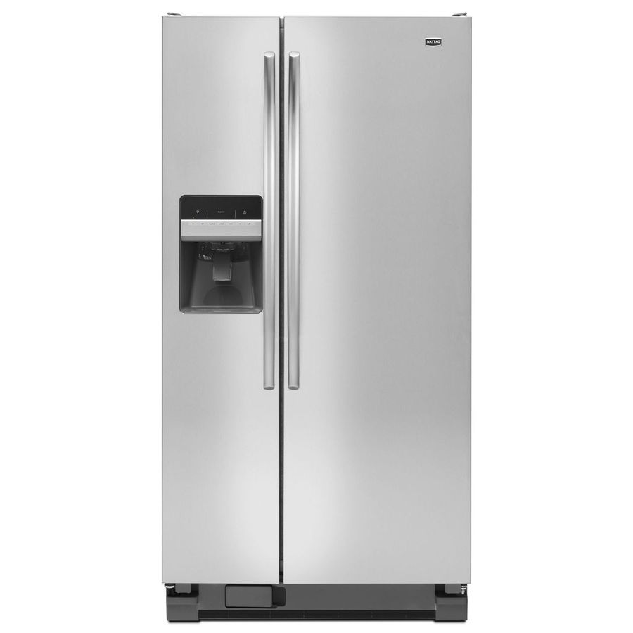Maytag 22-cu ft Side-by-Side Refrigerator with Single Ice Maker (Monochromatic Stainless Steel) ENERGY STAR