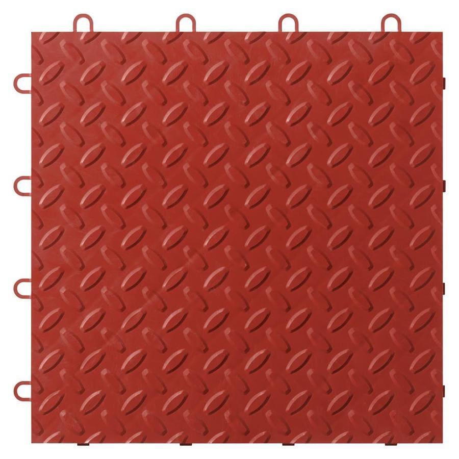 Gladiator 48-Piece 12-in x 12-in Red Tread Plate Garage Floor Tile