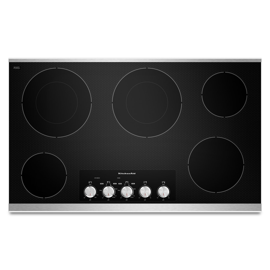 KitchenAid 36-in Smooth Surface Electric Cooktop (Stainless Steel)