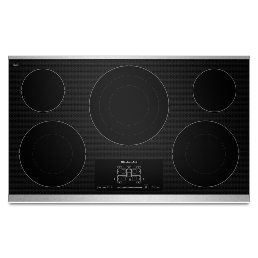KitchenAid 5-Element Smooth Surface Electric Cooktop (Stainless Steel) (Common: 36-in; Actual 36.813-in)