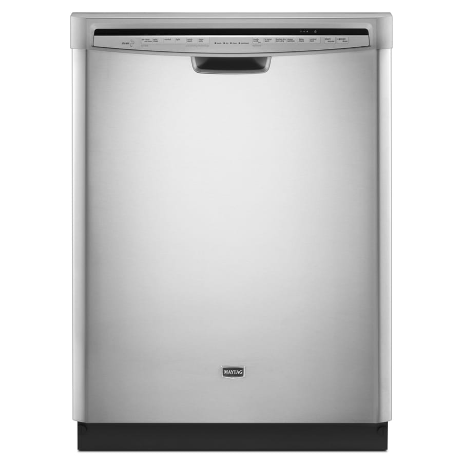 Maytag 53-Decibel Built-In Dishwasher with Hard Food Disposer (Monochromatic Stainless Steel) (Common: 24-in; Actual 23.875-in) ENERGY STAR