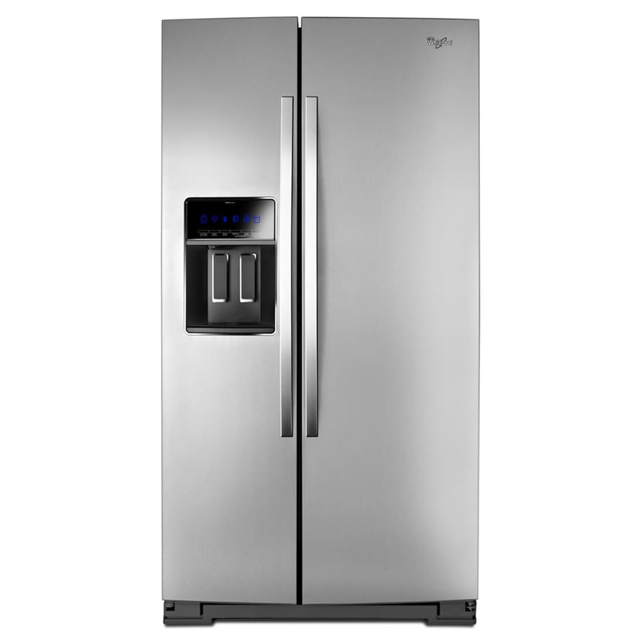 Whirlpool Gold 24.5-cu ft Side-by-Side Counter-Depth Refrigerator with Single Ice Maker (Monchromatic Stainless Look) ENERGY STAR