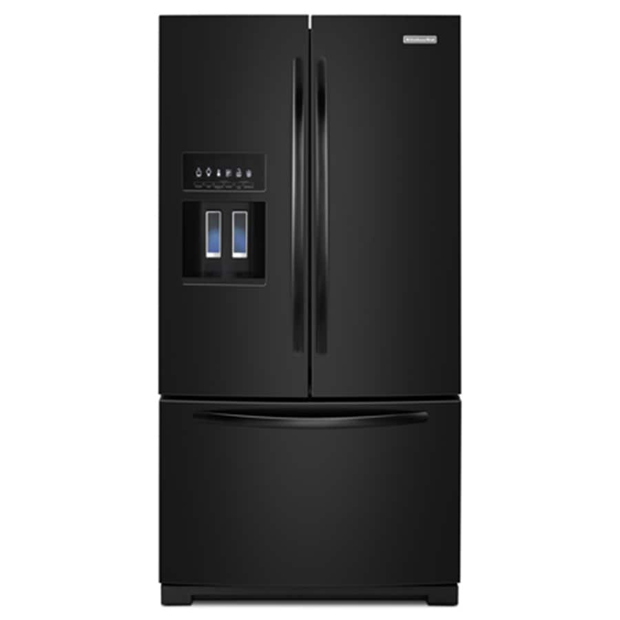KitchenAid 28.6-cu ft French Door Refrigerator with Single Ice Maker (Black) ENERGY STAR