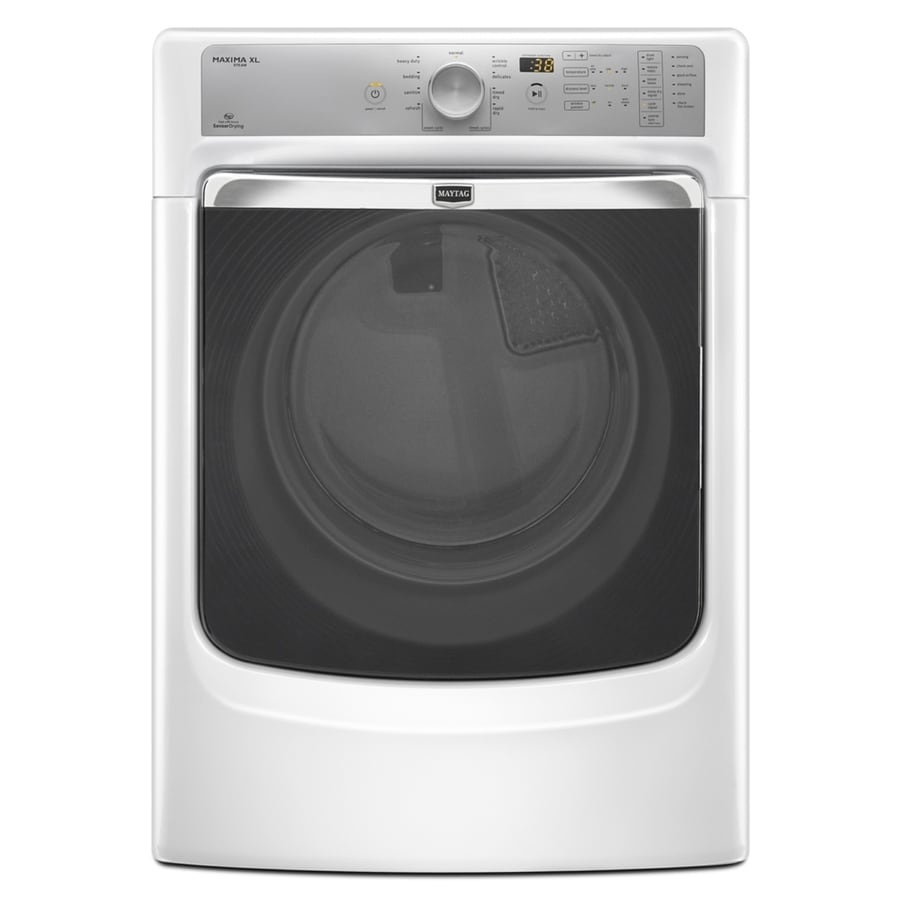 Maytag Maxima XL 7.4-cu ft Stackable Gas Dryer with Steam Cycle (White)