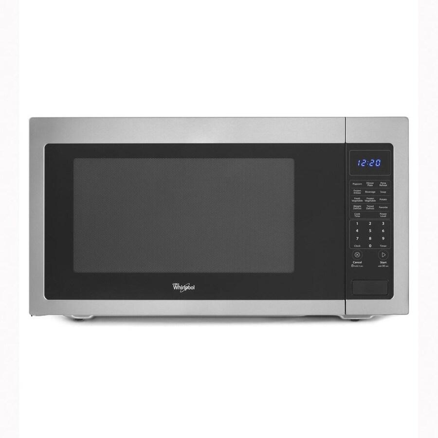 Whirlpool 2.2-cu ft 1,200-Watt Countertop Microwave (Black On Stainless)