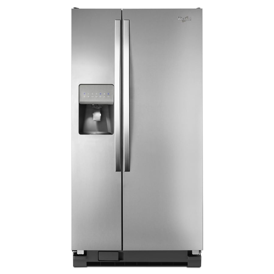 Whirlpool 21.2-cu ft Side-by-Side Refrigerator with Single Ice Maker (Monochromatic Stainless Steel)