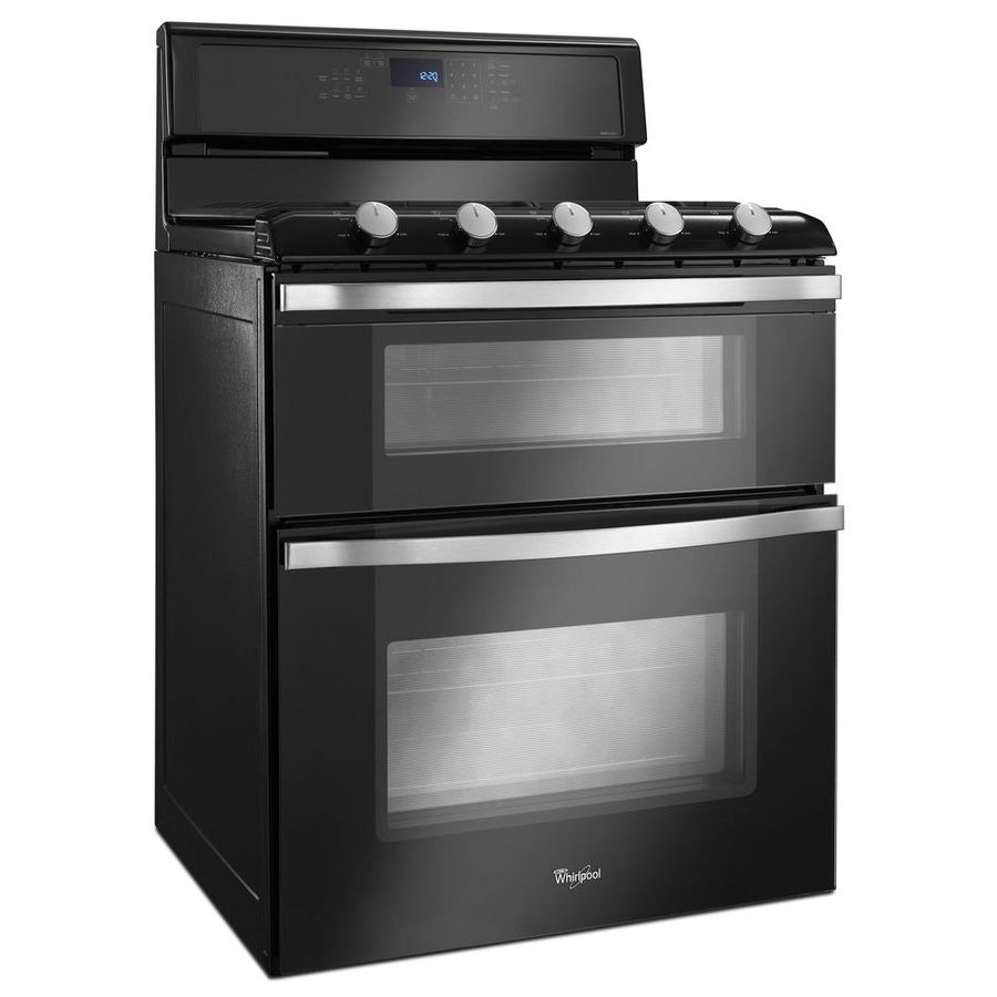 Shop whirlpool 30 in 5 burner 3 9 cu ft 2 1 cu ft self cleaning double oven gas range black ice - Gas stove double oven reviews ...