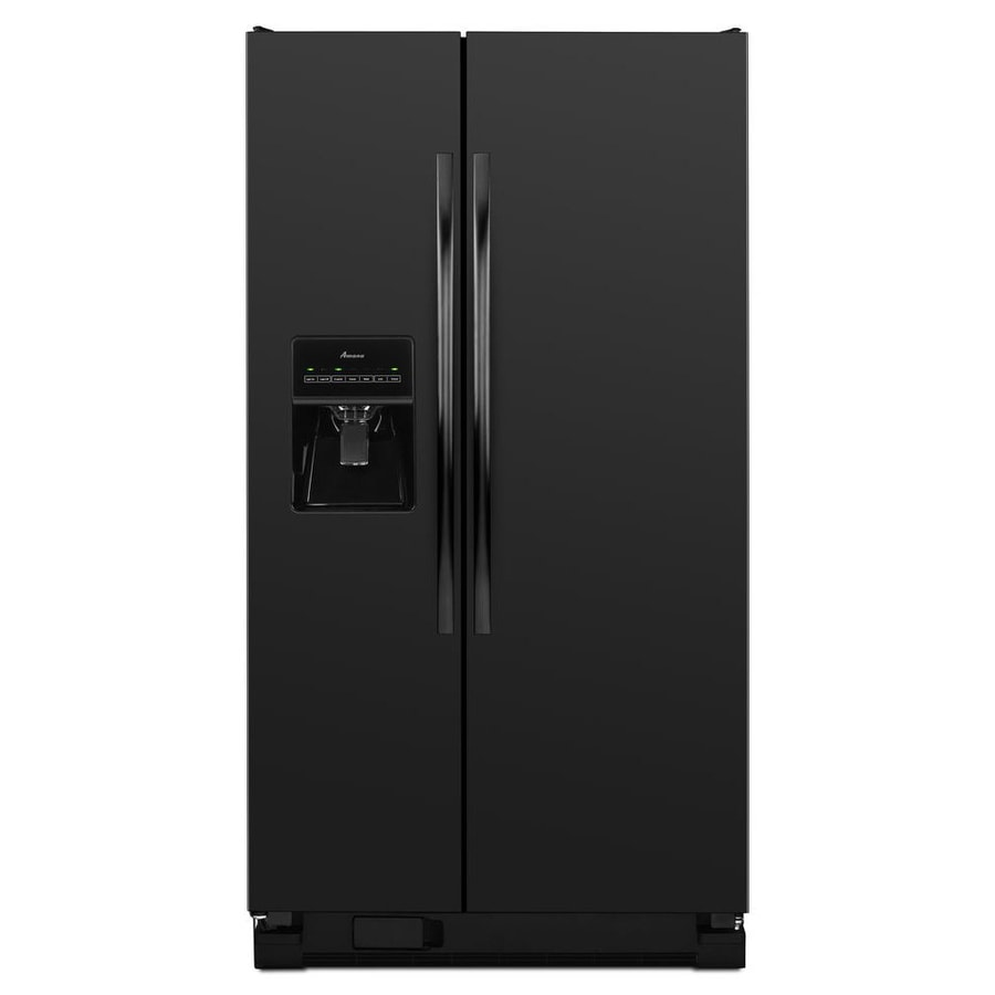 Shop Amana 24.5-cu ft Side-By-Side Refrigerator Single (Black) at Lowes.com