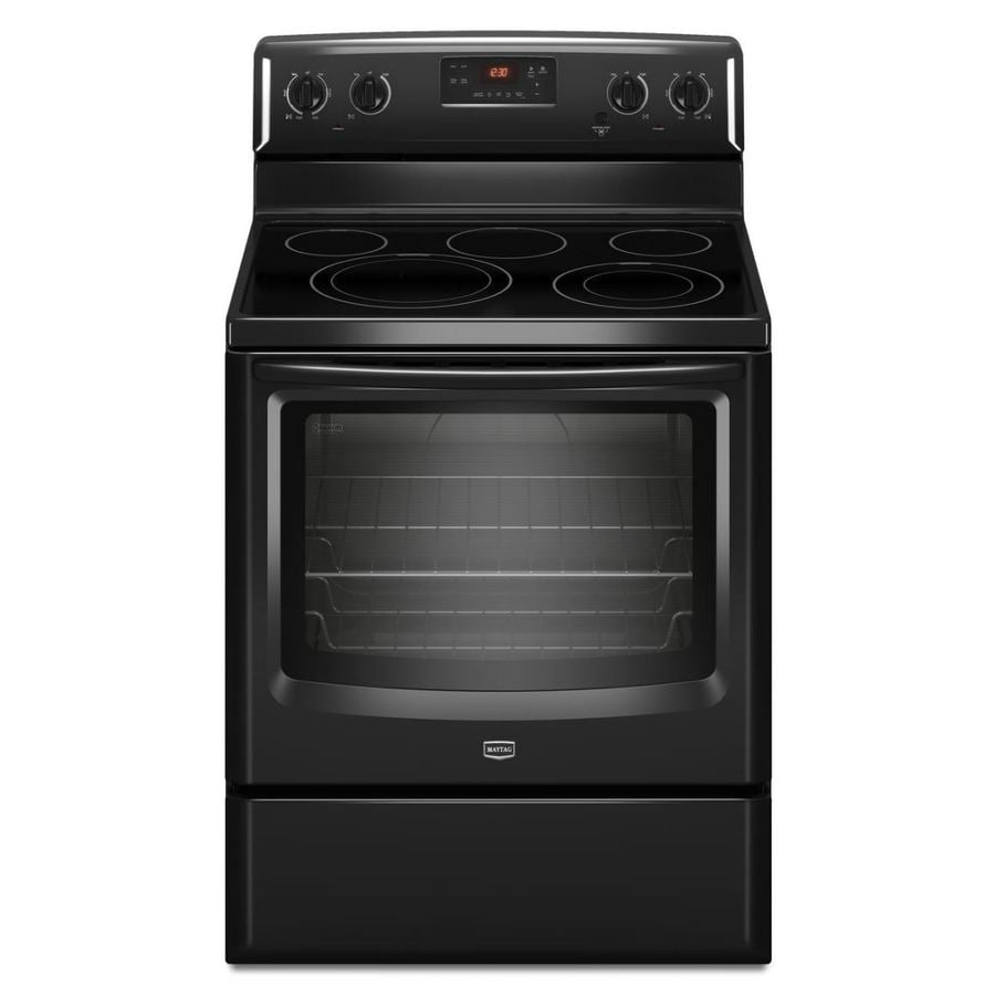 Maytag Smooth Surface Freestanding 5-Element 6.2-cu ft Self-Cleaning Electric Range (Black) (Common: 30-in; Actual: 29.87-in)