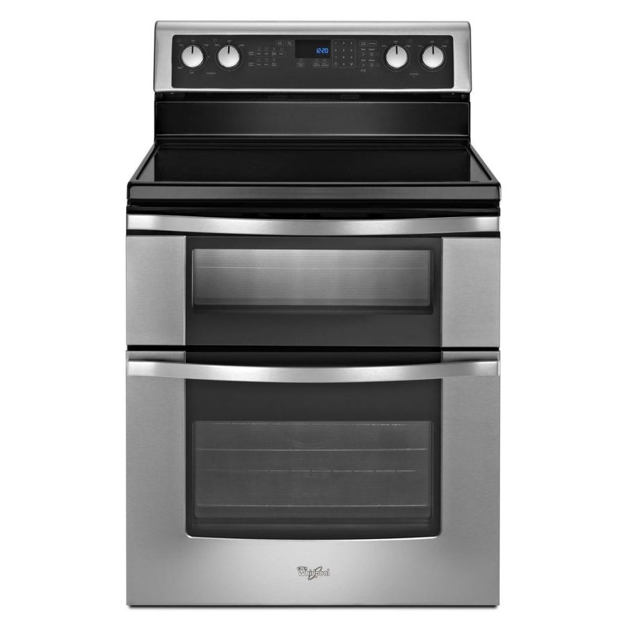 Whirlpool 30-in Smooth Surface 5-Element 4.2-cu ft/2.5-cu ft Self-Cleaning Double Oven Electric Range (Stainless Steel)