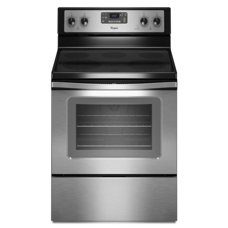 Whirlpool Smooth Surface Freestanding 5-Element 5.3-cu ft Self-Cleaning Convection Electric Range (Stainless Steel) (Common: 30-in; Actual: 29.87-in)