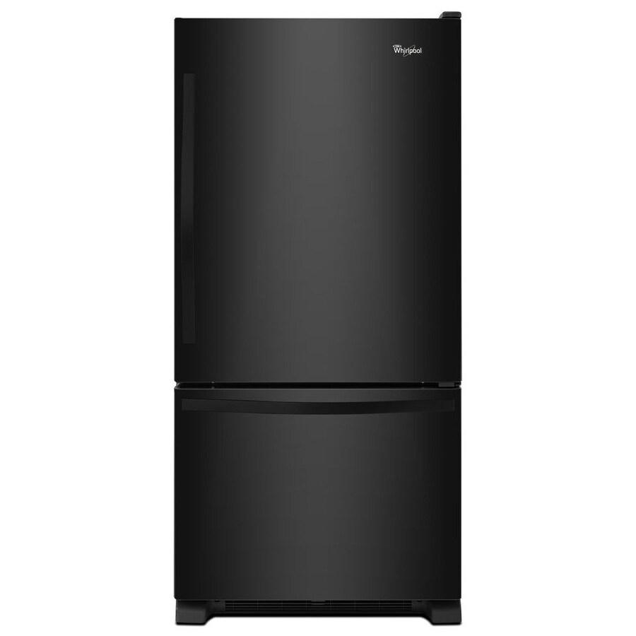 Whirlpool 18.7-cu ft Bottom-Freezer Refrigerator with Single Ice Maker Ice Maker (Black) ENERGY STAR