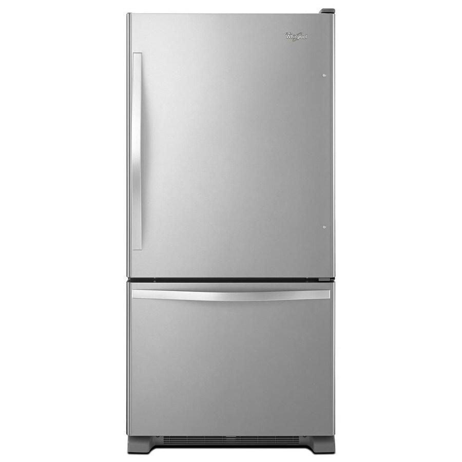 Whirlpool 18.7-cu ft Bottom-Freezer Refrigerator with Single Ice Maker Ice Maker (Stainless Steel) ENERGY STAR