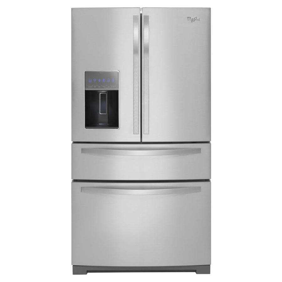 Whirlpool Gold 26.2-cu ft 4-Door French Door Refrigerator with Single Ice Maker (Monochromatic Stainless Steel)