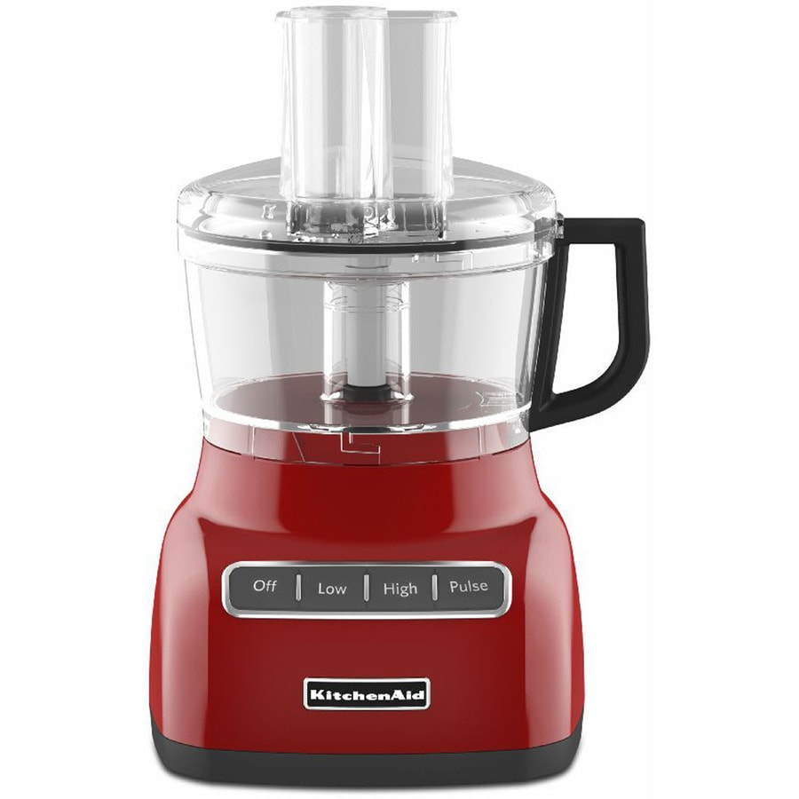 Shop kitchenaid 7 cup 300 watt empire red 3 blade food for Kitchenaid food processor