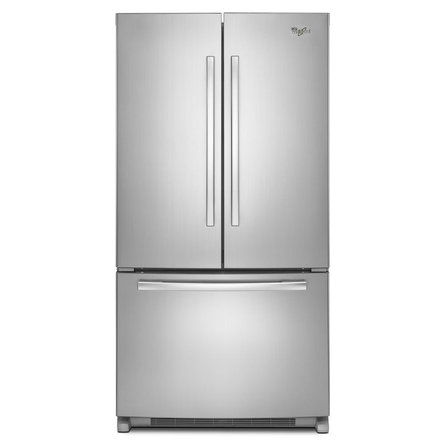 Whirlpool 20-cu ft Counter-Depth French Door Refrigerator with Single Ice Maker (Monochromatic Stainless Steel) ENERGY STAR