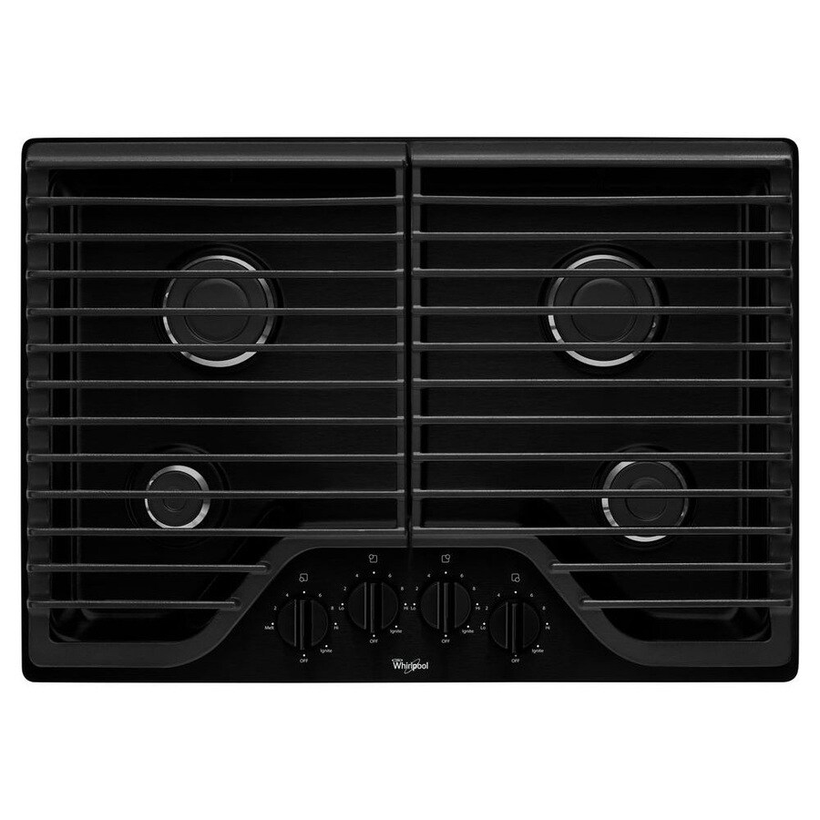 Whirlpool 4-Burner Gas Cooktop (Black) (Common: 30-in; Actual: 30-in)
