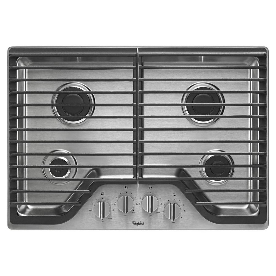 Whirlpool 4-Burner Gas Cooktop (Stainless Steel) (Common: 30-in; Actual: 30-in)